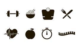 Les icônes plates ont placé de la forme physique, du sport et de la collection saine de symbole de vecteur de style de mode de vi Photographie stock