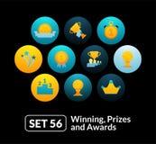 Les icônes plates ont placé 56 - gain, prix et récompenses illustration stock