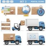 Les icônes postales de vecteur ont placé 3 Image libre de droits