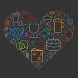Les icônes pour la nourriture et les boissons ont arrangé dans la forme de coeur illustration stock