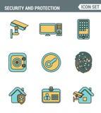 Les icônes rayent l'ensemble de divers objets de sécurité de qualité de la meilleure qualité, information et système de protectio illustration libre de droits