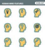 Les icônes rayent la qualité de la meilleure qualité réglée des caractéristiques d'esprit humain, identité de profil de caractère illustration stock