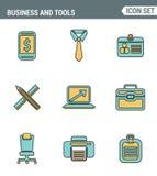Les icônes rayent la qualité de la meilleure qualité réglée des outils essentiels d'affaires de base, équipement de bureau Style  Photos libres de droits