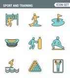 Les icônes rayent la qualité de la meilleure qualité réglée des sports en plein air s'exerçant, style plat de conception de diver Photo libre de droits
