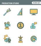 Les icônes rayent la qualité de la meilleure qualité réglée du studio satisfait de production, projection de solution Style plat  Image stock