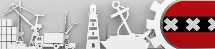 Les icônes relatives de port de cargaison ont placé avec le drapeau d'Amsterdam Image libre de droits