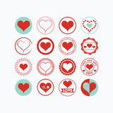 Les icônes rouges et bleues de symboles de coeur ont placé sur le fond blanc Images libres de droits