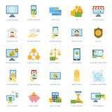 Les icônes sûres d'opérations bancaires de carte de finances ont placé le vecteur de paiement en espèces de crédit Images stock