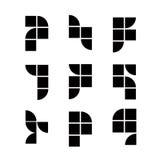 Les icônes simplistes géométriques placent, dirigent des symboles abstraits Photos libres de droits