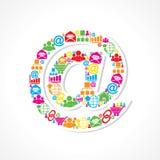 Les icônes sociales de media font le signe d'email illustration stock