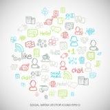 Les icônes sociales tirées par la main de réseau de griffonnages multicolores sociaux de media ont placé sur le blanc Illustratio Image libre de droits
