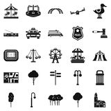 Les icônes urbaines de parc de récréation ont placé, style simple illustration de vecteur
