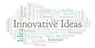 Les idées innovatrices expriment le nuage, fait avec le texte seulement illustration libre de droits