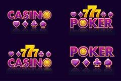 Les idées pourpres de logo textotent le CASINO et le TISONNIER Icônes de vecteur pour la loterie ou le casino Emblème quatre d'is illustration stock