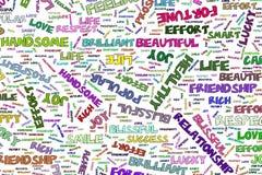 Les illustrations abstraites du mot positif d'émotion opacifient, conceptuel Tiré par la main, numérique, graphique et mots illustration stock