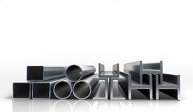 les illustrations 3d metal des tubes et des profils d'isolement sur le whi Photographie stock libre de droits
