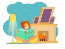Les illustrations d'une belles séance et lecture de fille un livre, thé potable avec des biscuits s'approchent de la cheminée illustration stock