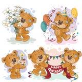 Les illustrations de clipart (images graphiques) de l'ours de nounours te souhaite un joyeux anniversaire Images libres de droits