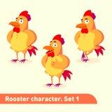 Les illustrations de vecteur réglées inclut trois poses debout de caractère de coq dans le style drôle de bande dessinée Images libres de droits