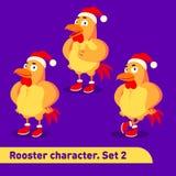 Les illustrations de vecteur réglées inclut trois poses debout de caractère de coq habillées dans le costume de Noël dans la band Image libre de droits