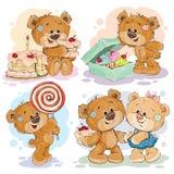 Les illustrations drôles avec le nounours concernent le thème de l'amour pour des bonbons illustration libre de droits
