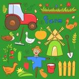 Les illustrations mignonnes de ferme de vecteur ont placé dans le style de griffonnage Photos libres de droits