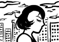 Les images noires et blanches sont femme aux cheveux courts noire dans la ville illustration de vecteur