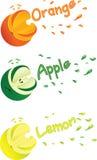 Les images symboliques de l'orange, du citron et de la pomme avec du jus éclabousse Image stock