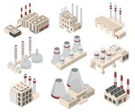 Les implantations industrielles ou les bâtiments signent l'icône 3d ont placé la vue isométrique Vecteur illustration stock