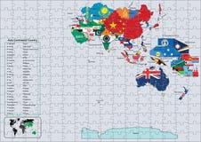 les indicateurs de pays continentaux de l'Asie tracent le puzzle Photos libres de droits
