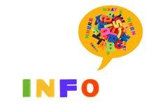 Les infos écrites en plastique multicolore badinent des lettres Photographie stock