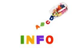 Les infos écrites en plastique multicolore badinent des lettres Photo stock