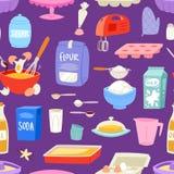 Les ingrédients de boulangerie dirigent la nourriture et la vaisselle de cuisine pour l'ensemble de cuisson de gâteau d'oeufs flo illustration de vecteur