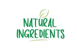 les ingrédients naturels verdissent le texte de mot avec la conception de logo d'icône de feuille illustration libre de droits