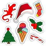 Les insignes de correction de bande dessinée ou la goupille originaux de mode badges Décoration de Noël réglée : Photographie stock libre de droits