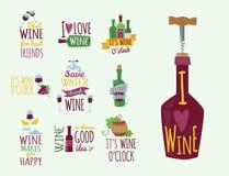 Les insignes et les labels naturels tirés par la main pour le vin dirigent le signe de menu d'alcool de restaurant d'illustration illustration de vecteur