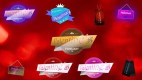 Les insignes heureux de Saint-Valentin emballent Rose rouge Insignes de valentines illustration stock