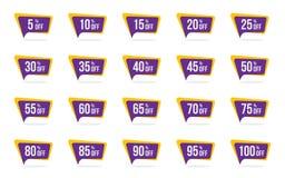 Les insignes modernes de promotion de vecteur d'étiquette de vente et de prix discount marquent le calibre de conceptions illustration de vecteur