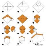 Les instructions étape-par-étape comment faire origami des bénédictions marque Photo stock