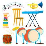 Les instruments de musique battent du tambour du vecteur de trompette d'instrument de clavier Illustration illustration de vecteur