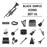 Les instruments de musique ont placé des icônes dans le style noir La grande collection d'instruments de musique dirigent l'illus Image stock