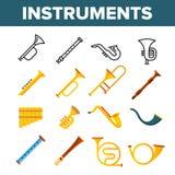 Les instruments de musique de vent dirigent l'ensemble d'ic?nes de couleur illustration de vecteur