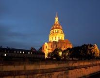 Les Invalides на ноче - Париж, Франции Стоковые Изображения