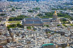 Les Invalides. Dome of Les Invalides in Paris view from the Eiffel tower, France Stock Photography