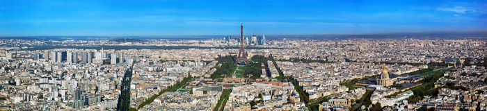 Панорама Парижа, франция. Эйфелеваа башня, Les Invalides. Стоковое фото RF