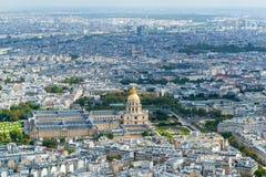 Взгляд Les Invalides от Эйфелева башни в Париже Стоковые Фотографии RF
