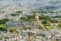 Взгляд Les Invalides от Эйфелева башни Стоковая Фотография RF