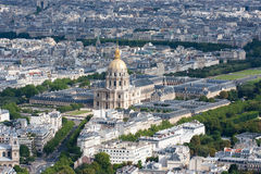 Les Invalides aerial view. High point view of Les Invalides with the tomb of Napoleon Bonaparte stock photos