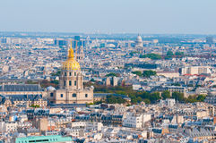 Les invalides - Aerial view of Paris. Royalty Free Stock Photography