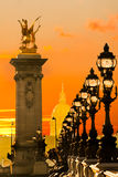 Les Invalides and Alexandre III bridge, Paris - France Royalty Free Stock Photography
